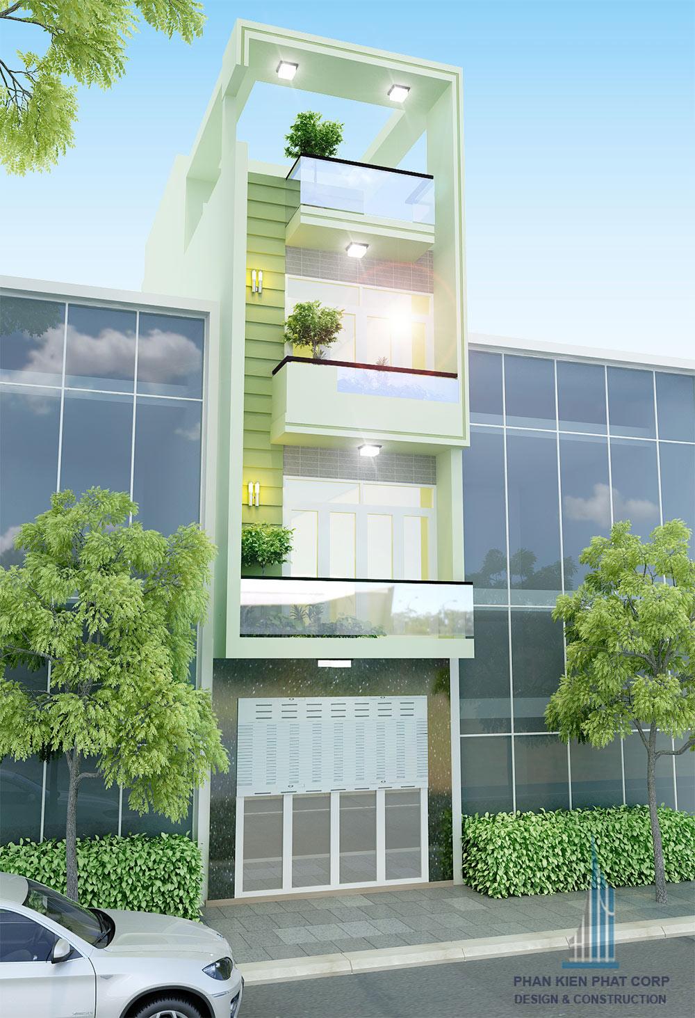 Mẫu nhà phố 4 tầng 4x15m trẻ trung hiện đại tại quận 8.