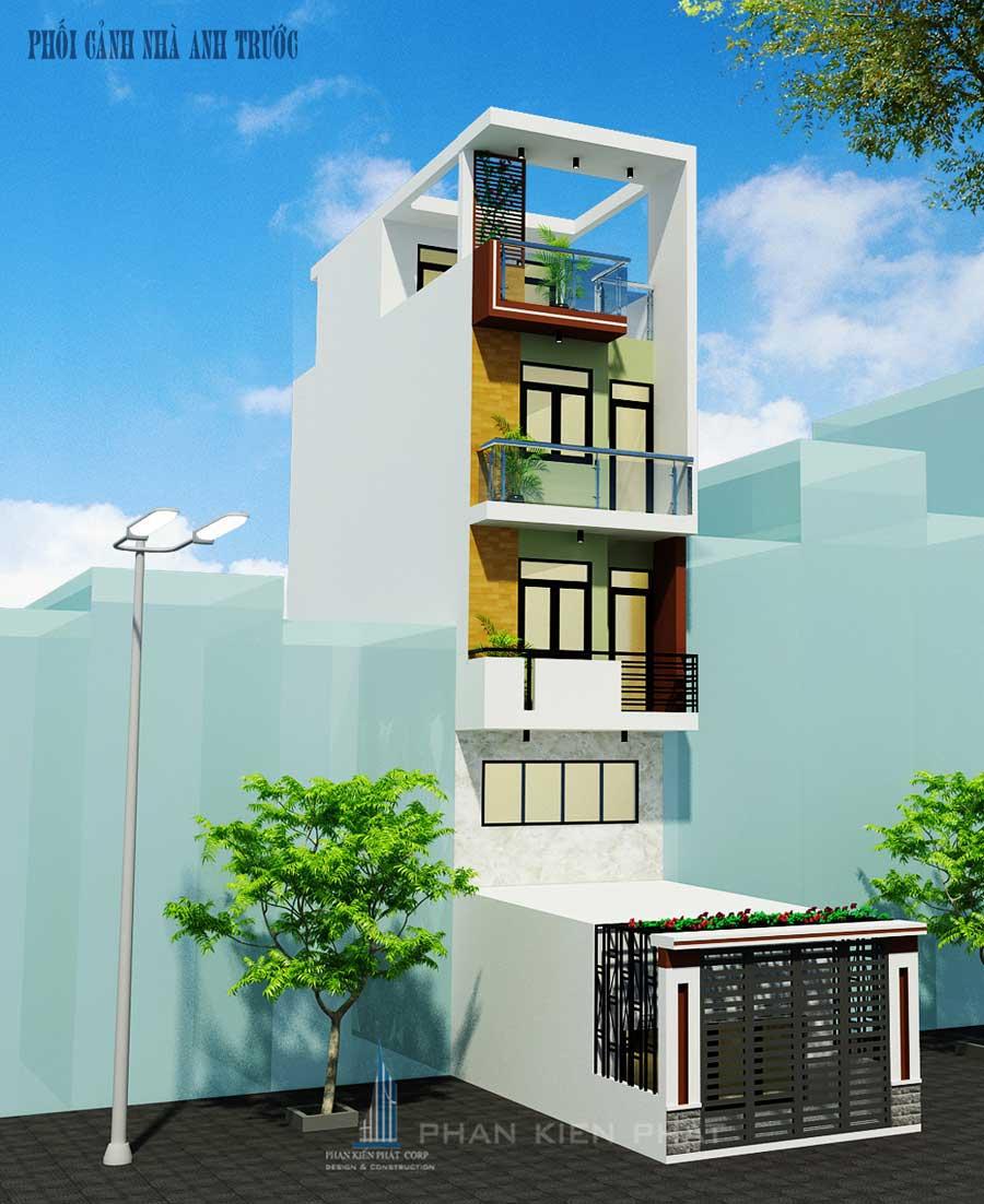 Mẫu thiết kế nhà phố 4 tầng tại liên khu 5 -6 Bình Tân