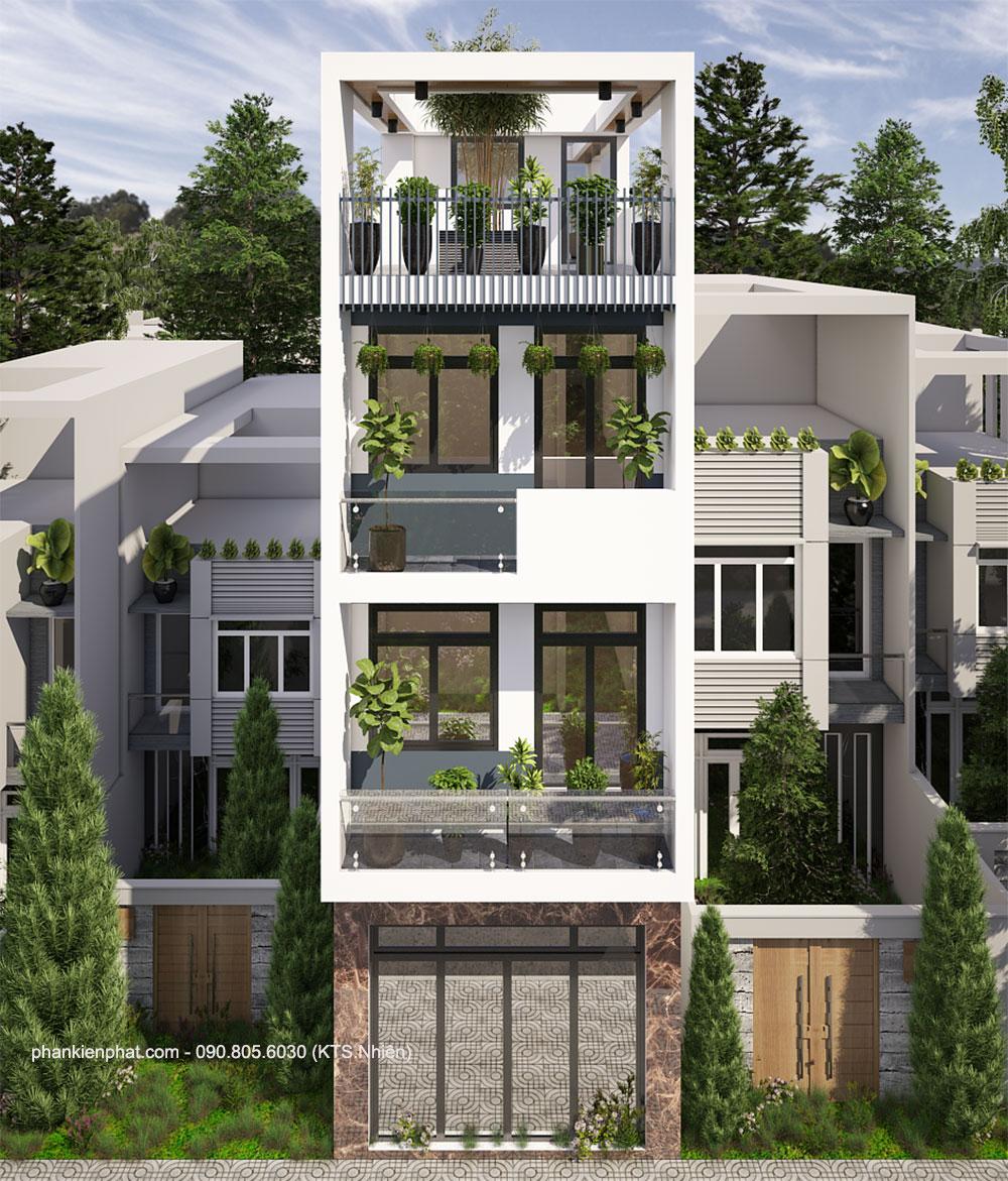 Mẫu nhà phố 4 tầng đẹp diện tích 4x15m tại Bình Tân