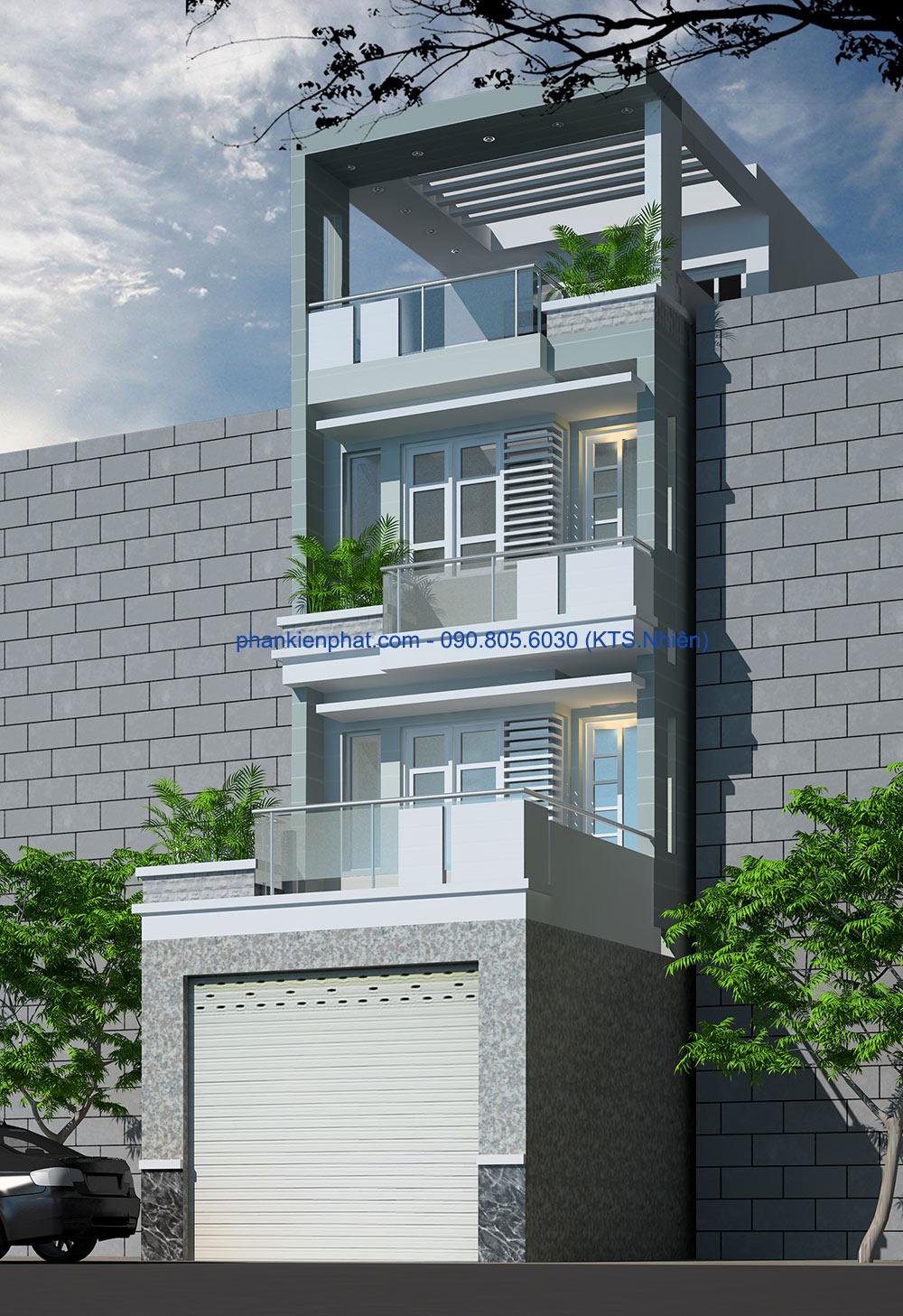 Mẫu thiết kế nhà phố 4 tầng 4,5x20m đẹp tại quận 3