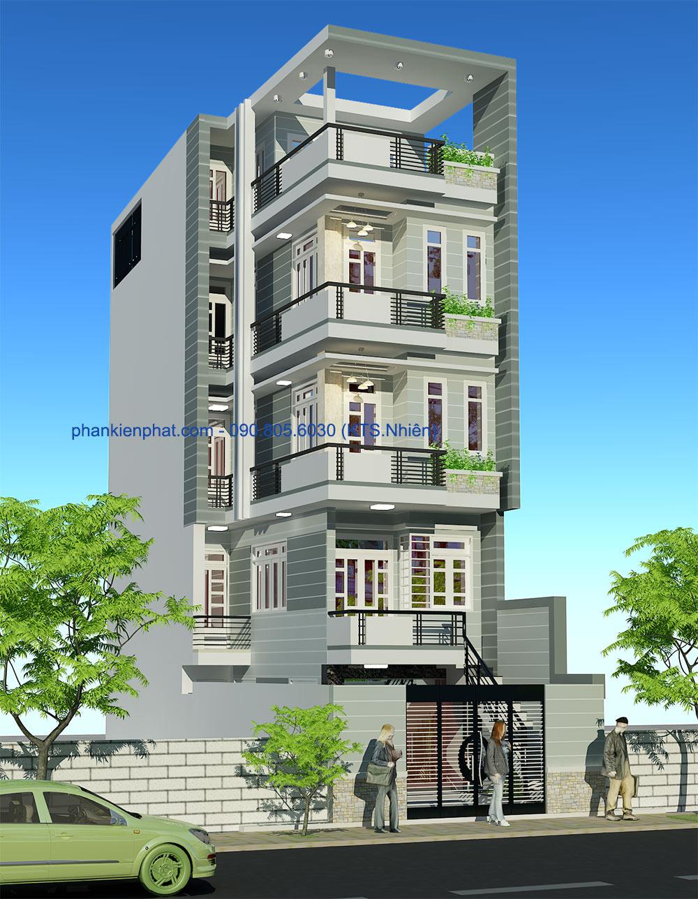 Mẫu thiết kế nhà phố 5 tầng đẹp