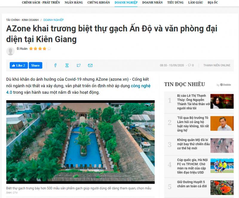 Báo Thanh Niên đưa tin về AZONE khai trương biệt thự gạch Ấn Độ và văn phòng đại diện tại Kiên Giang