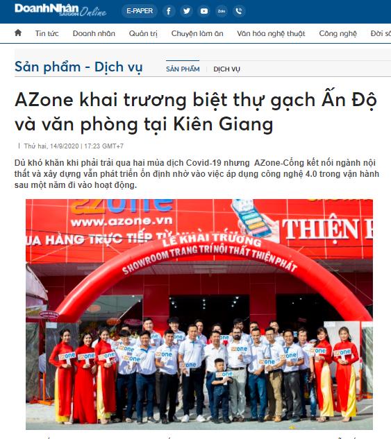 Báo doanh nhân viết về AZone khai trương biệt thự gạch Ấn Độ và văn phòng đại diện tại Kiên Giang