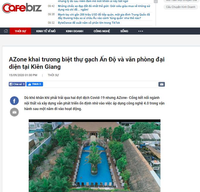 Tạp chí Cafebiz viết về việc AZone khai trương biệt thự gạch Ấn Độ và văn phòng đại diện tại Kiên Giang