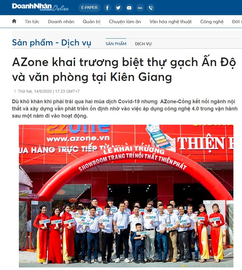 Báo Doanh Nhân Sài Gòn viết về AZone khai trương biệt thự gạch Ấn Độ và văn phòng tại Kiên Giang