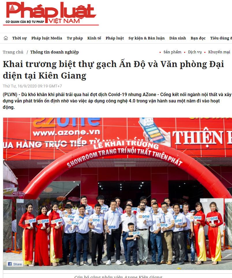 Báo Pháp Luật viết về Khai trương biệt thự gạch Ấn Độ và Văn phòng Đại diện tại Kiên Giang