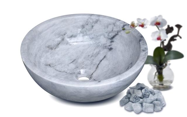 Lavabo đá marble trắng Italia Kanly