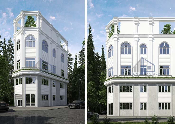 Nhà phố 4 tầng với tông màu trắng theo phong cách bán cổ điển.