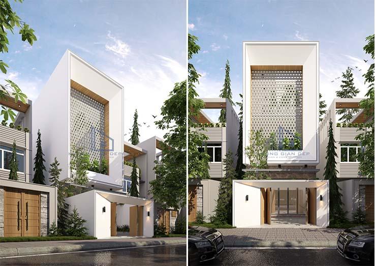 Thiết kế nhà phố 3 tầng  đẹp điểm nhấn bông gió ở Bình Dương.