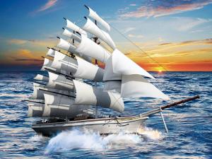 Gạch tranh trang trí 3D con thuyền 6865