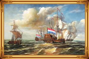 Gạch tranh trang trí 3D con thuyền 6861