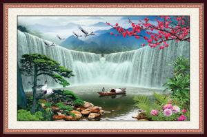 Gạch tranh trang trí 3D thác chảy 6862
