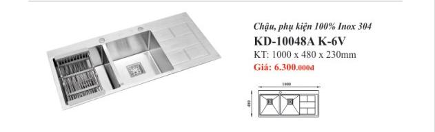 CHẬU RỬA INOX 2 HỐ KASSANI KD-10048A K-6V